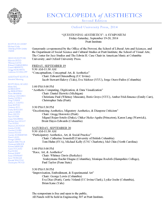 QuestioningAestheticsSymposium_PRATT-2014_Program